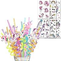 shinelee 26 pezzi unicorno cannucce di plastica riutilizzabili, tatuaggi temporanei bambini, gadget unicorno festa compleanno regalo