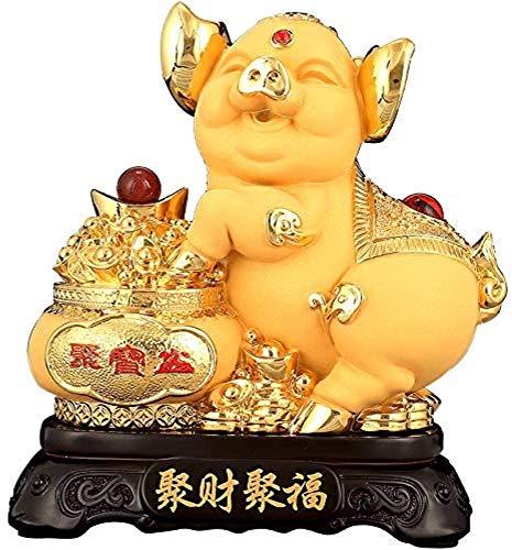 Posągi Zen ozdoby kolekcjonerskie figurki 2019 chiński zodiak świnia rok złoty żywicy świnia ze skarbami basen kolekcjonerskimi figurki tabeli statua