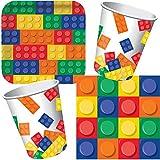 Carpeta 33-Teiliges Partyset * BAUSTEINE * mit Teller + Becher + Servietten + Deko // Perfekt z. B....