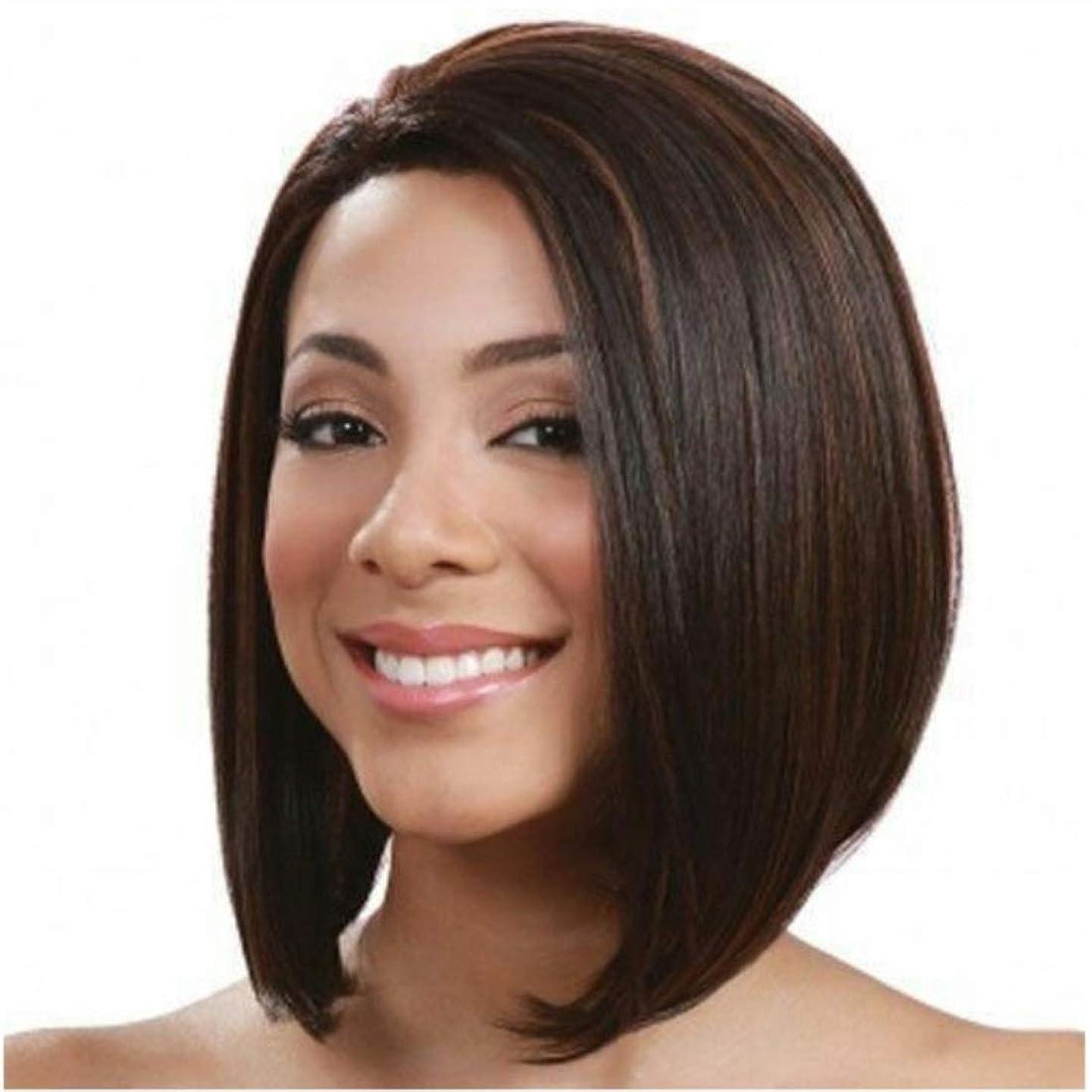 娯楽リーダーシップ郵便局Summerys 前髪合成耐熱性女性のヘアスタイルと短いふわふわボブ変態ストレートヘアウィッグ (Color : Navy brown)