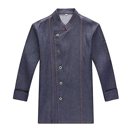 WYCDA kookjack met lange mouwen met drukknoopsluiting moderne stijl hotel uniform werkkleding tweerijig design met borstzak voorzijde geschikt voor hotelrestaurants