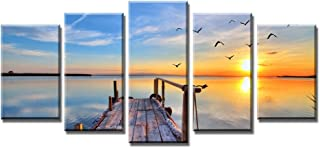 Wieco Art Bridge Under Sunrise Canvas Prints Wall Art Sea Beach Pictures Paintings for Bedroom Home Office Decorations Modern 5 Panels Stretched and Framed Contemporary Seascape Giclee Artwork