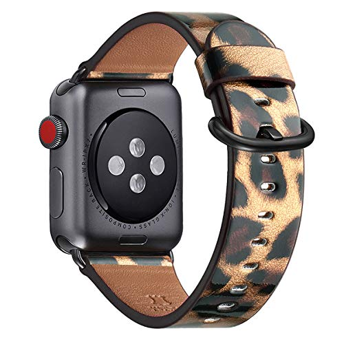 WFEAGL Compatible iWatch Band 42mm 44mm, Top Grain Leather Band Replacement Strap for iWatch Series 5,Series 4,Series 3,Series 2,Series 1,Sport, Edition (Leopard Band+Black Adapter,42mm 44mm)