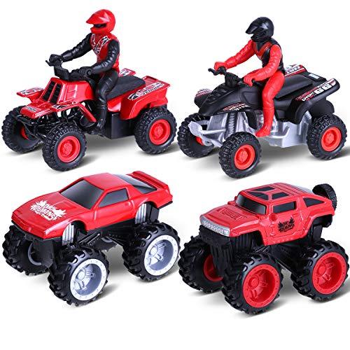 Aufziehautos Spielzeugautos, Toymus Legierungsspielzeug Auto, Motorrad, Auto Spielzeug, Reibung angetrieben Spielzeug Fahrzeuge für 3-12 Jahre Jungen Kinder Geschenk 4 Pack Set