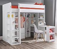High Sleeper Storage Bed, Happy Beds Aurora White Wood Desk, Cupboard, Wardrobe and Drawers Loft Bed...