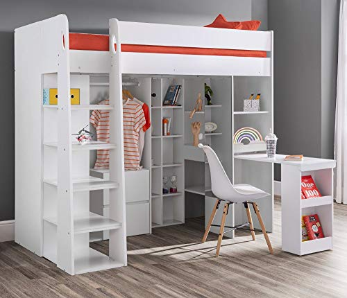 High Sleeper Storage Bed, Happy Beds Aurora White Wood Desk, Cupboard, Wardrobe and Drawers Loft Bed Frame - 3ft Single (90 x 190 cm) with Memory Foam Mattress Included