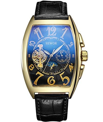 SEWOR Luxury Tourbillon Herren Mondphase automatische mechanische Armbanduhr Lederband Glasbeschichtung blau (Gold schwarz2)