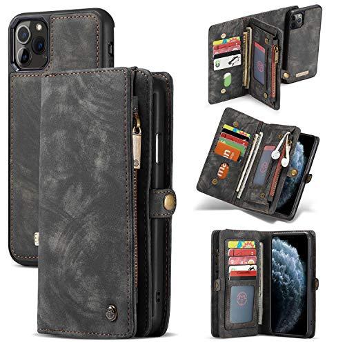 KCSds Card Holder Teléfono Caja de la Carpeta for el iPhone 11 Pro-MAX 6.5 '' Casos de Bolsillo Cuero Hecho a Mano en tríptico con Las Ranuras for Tarjeta magnética y la Cubierta Trasera, Desmon