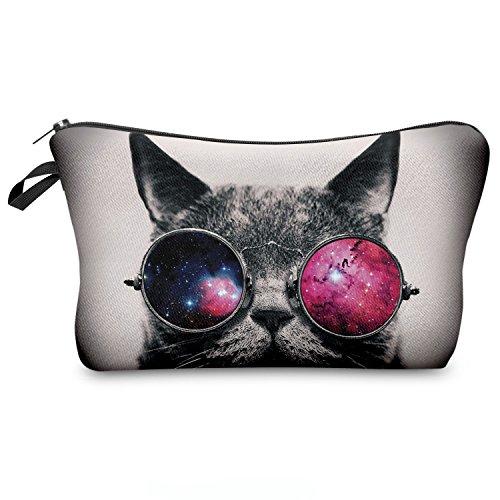 Federmäppchen Kosmetiktasche Federtasche Stiftemappe Make Up Täschchen Full Print All Over Bag Fresh [009], Galaxy Sunglasses Cat, 20x14cm