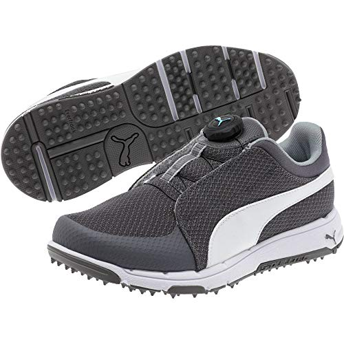 PUMA Grip Sport Disc Chaussures de Golf pour Enfant - Gris - Quiet Shade-White-Bluefish, 37 EU