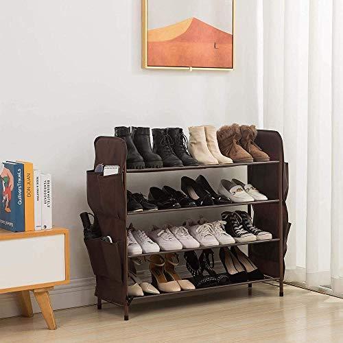 A-Generic Shoemaker Separado, 4 Capas con 8 Bolsillos Laterales para Zapatos, 80 cm de Ancho, marrón-Marrón