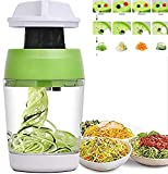 5 in1 Handheld Spiralizer Vegetable Slicer, Spiral Cutter with Container, Carrot Cucumber Onion Zucchini Noodle Spaghetti Maker Spiral Slicer