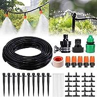 散水タイマー灌漑システム 45個50フィート/ 15m点滴灌漑キット分配チューブホース付きガーデン灌漑システム DIY水やり点滴灌漑