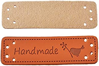 Yalulu 20Pcs PU Leather Label Simple Handmade Embossed Tag Embellishment Knit DIY Apparel Accessories