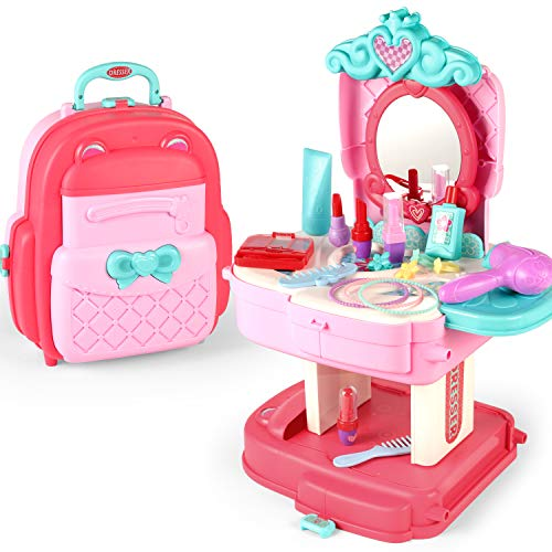 SUMXTECH Makeup Toy Pretend Play Sets Simulation Lovely Dressing Up Kit with 2-in-1 Carrier Backpack, 30 Pcs Role Play Educational Toy Pretend Game Gifts for Kids Girls Birthday Christmas