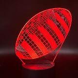 Veilleuse 3D Lampe Rugby Football Sport Ballon Jeux Chambre Décoration 7 Couleurs avec Télécommande Meilleur Cadeau de Vacances pour Enfants Lampe