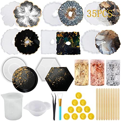 JOYBOY Moulle Silicone Resine Epoxy,35pcs Moule en Résine de Silicone Non Collant,Facile à Démouler,Kit de Moules et Outils de Coulée de Résine