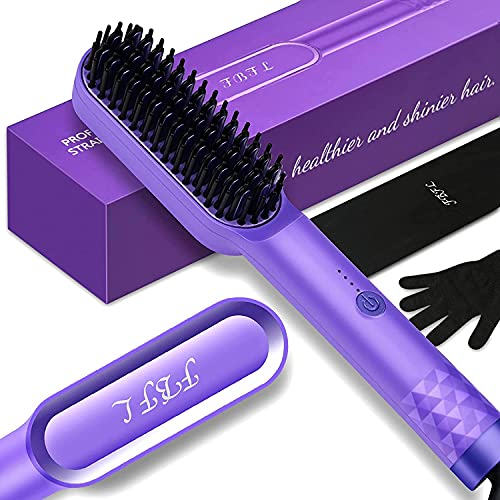 2 in 1 Ionic Hair Straightening Brush for Short Hair, Portable and Dual Voltage for Travel, 30s MCH Rapid Heating ,Anti-Scald and Auto-Off, Best Gift for Family and Friend