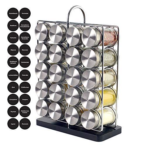 ProCook modernes Gewürzregal - 20 Gewürzgläser - Gewürzregal für Küchenschrank und Arbeitsfläche - Küchen-Organizer - 20 Gewürze