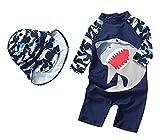 Baby Boys Kids Long Sleeve UV Sun Protection Rash Guards Swimsuit with Hat (FBA) Navy
