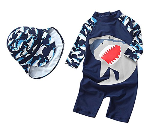 Baby Boys One Piece Swimsuits Rash Guard Kids Sunsuit Swimwear Sets UPF 50+(Navy, 18-24Months(Height:31.5