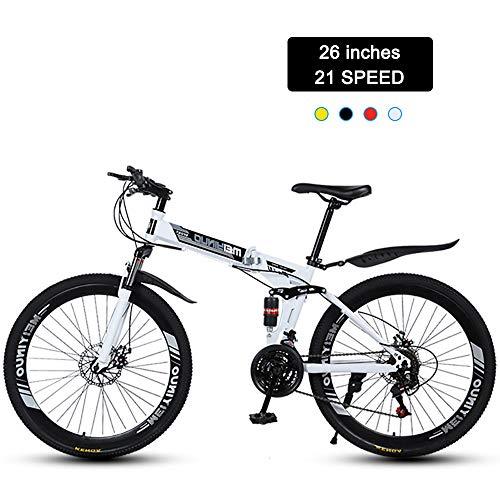 Super-ZS Bicicleta De Montaña Plegable, Ruedas De Radios De 40 Palas De 26 Pulgadas/Frenos Mecánicos De Doble Disco / 24 Velocidades/Bicicleta Todoterreno para Exteriores con Doble Amortiguación