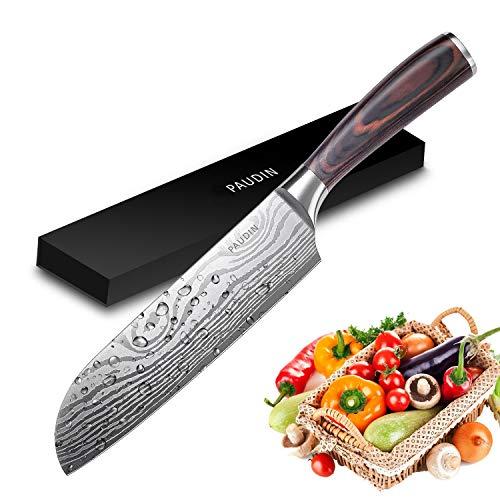 Couteau de chef professionnel en acier inoxydable à haute teneur en carbone 5Cr15Mov avec poignée ergonomique N5 Santoku Knife 7'' Argenté