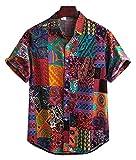 Ontarious Look Men's Cotton Digital Printed Half Sleeves Shirt (Maroon) - L