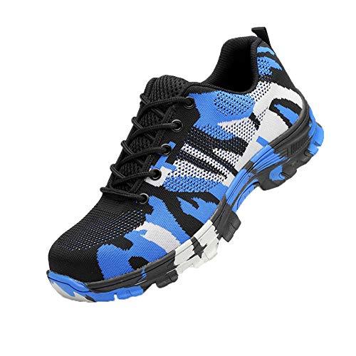 Zapatos de Seguridad para Hombres Zapatos de Acero con Punta de Seguridad,Zapatillas Deportivas Ligeras e Industriales Transpirables, Camuflaje Azul 41