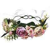 YAZILIND boda nupcial rosa flor guirnalda corona de Dama de honor floral Garland playa tocado foto apoyos diadema (#3)
