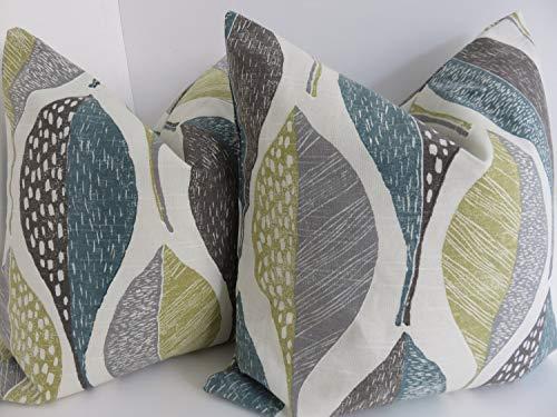 Qui556 - Fundas de Almohada Decorativas, Color Gris Aguamarina Verde Oliva, Multicolor