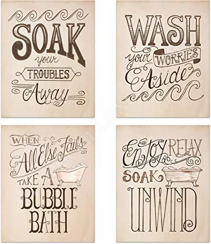 Bathroom'Bubble-Bath Time' Decoration Set- 4 Vintage Drawing Wall Prints- 8 x10's Wall Decor- Ready To Frame.'Soak-Wash-Unwind-Relax'- Home Decor. Bathroom Decor to Celebrate the Cherished Bath!