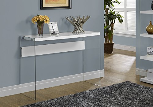 Monarch specialties , Console Sofa Table, Tempered Glass, Glossy White, 44'L