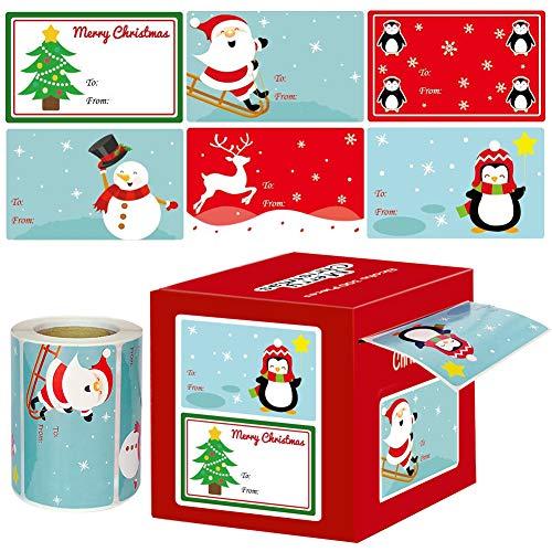 Weihnachtsaufkleber Geschenkaufkleber 300, Selbstklebend Weihnachtsanhänger Aufkleber Rolle mit 6 Muster, Weihnachten Etiketten Aufkleber zum Beschriften Basteln für Geschenk Verpackung Dekoration