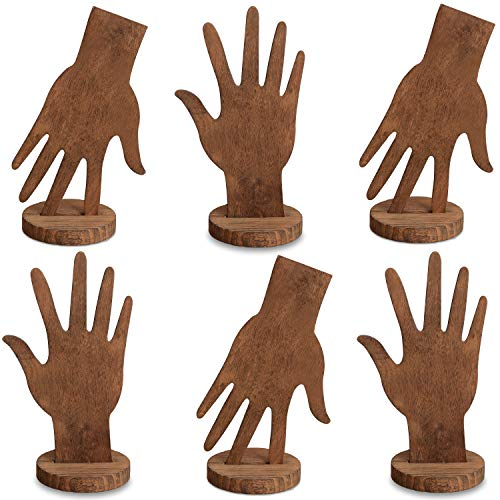 MOOCA 6 Pcs Set Wooden Hand Form Jewelry Display Bracelet Ring Stand Holder, Wooden Mannequin Finger Hand Display, Wooden Hand Jewelry Display Holder, Brown