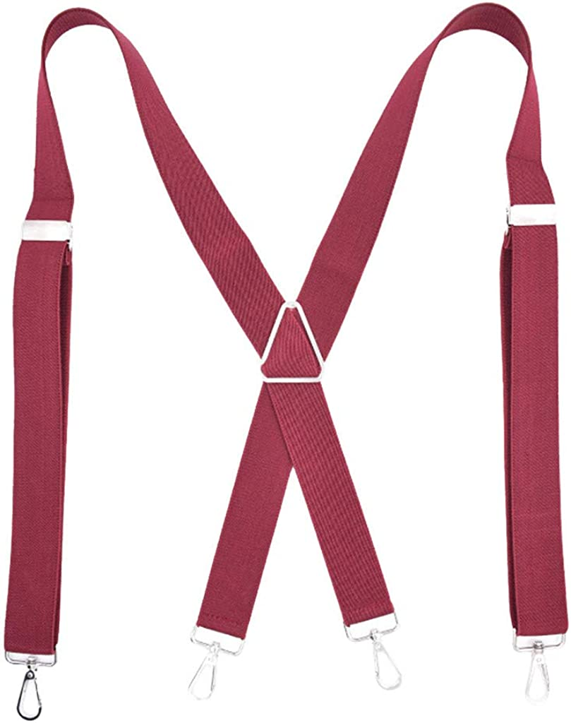 JPOQW Mens Suspenders 4 Clip Adjustable Solid Straight Clasps Hook Strap with X-Back Design for Suit Pants