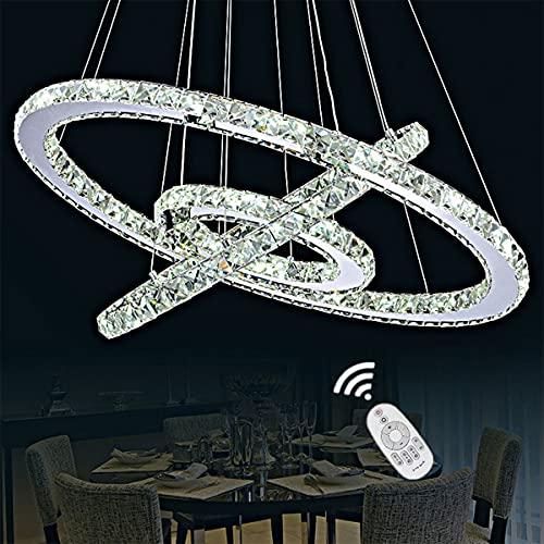 FNDAWN Luxus Kristall Pendelleuchte LED Esszimmerlampe 3 Ring Modern Hängelampe Dimmbar Esstisch Kronleuchter Höhenverstellbar Pendellampe mit Fernbedienung Deckenlampe Wohnzimmer Lampe, 20+40+60cm