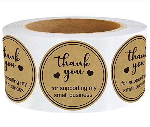 Round Kraft Thank You for Supporting My Small Business Stickers 1.5 Inch Thank You Labels Small Business - Thank You for Supporting Labels Business Stickers Shipping Labels for Business Owners