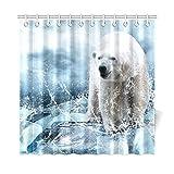 WOCNEMP Home Decor Bad Vorhang Weiß Eisbär Auf Dem EIS Polyester Stoff Wasserdicht Duschvorhang Für Badezimmer, 72 X 72 Zoll Duschvorhänge Haken Enthalten