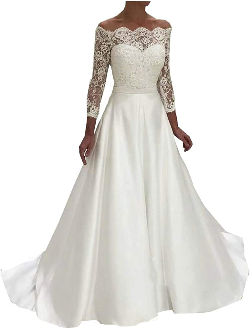 Elliebridal 2021 Satin Women's Bridal Ball Gown Long Sleeve A-line Lace Wedding Dresses with Train for Bride Plus Size