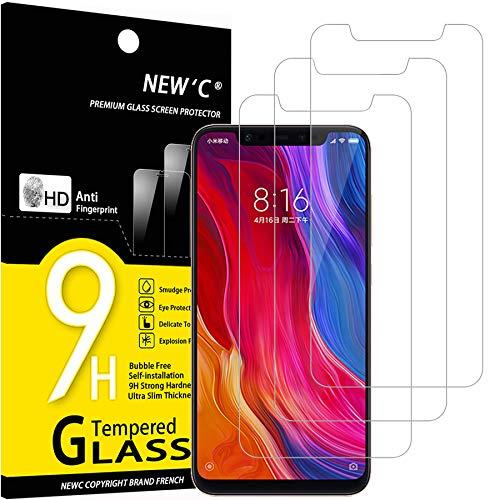 NEW'C 3 Unidades, Protector de Pantalla para Xiaomi Mi 8, Mi 8 Pro, Mi 8 Explorer, Antiarañazos, Antihuellas, Sin Burbujas, Dureza 9H, 0.33 mm Ultra Transparente, Vidrio Templado Ultra Resistente