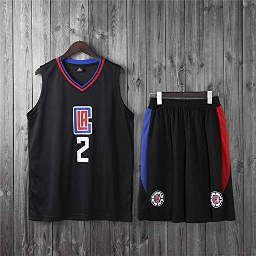 Jerseys De Baloncesto De Los Hombres, NBA Los Angeles Clippers # 2 Kawhi Leonard - Niño Adulto Vestir Chaleco Uniformes Classic Comfort Camiseta Sin Mangas Tops Set,Negro,S(Child) 115~125CM