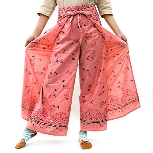 Taruron Damen Wickelhose, dekorativ, glitzernd, Baumwolle, Sommer - Pink - Einheitsgröße