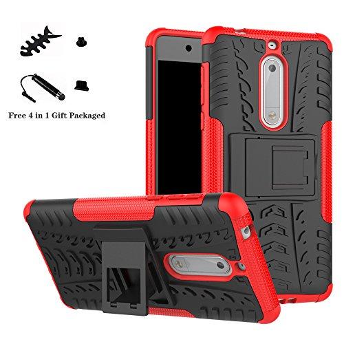 LiuShan Nokia 5 Funda, Heavy Duty Silicona Híbrida Rugged Armor Soporte Cáscara de Cubierta Protectora de Doble Capa Caso para Nokia 5 Smartphone(con 4 en 1 Regalo empaquetado),Rojo