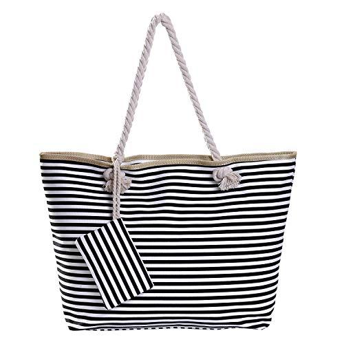 Grote waterafstotende strandtas met rits 58 x 38 x 18 cm gestreept zwart wit shopper schoudertas