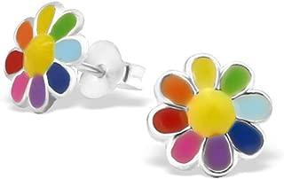 Colourful Flower Earrings Cute Multi Colour Girl Earrings Post Stud 925 Sterling Silver (E20765)
