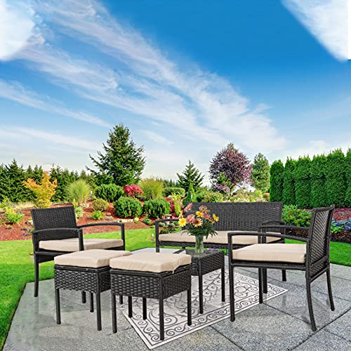 Homsido Rattan-Gartenmöbel-Set, 6-teilig, für den Wintergarten, für den Innen- und Außenbereich, Couchtisch und Stühle, Gartenmöbel, mit Kissen