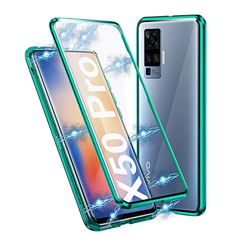 Ellmi Cover per Vivo X51 5G, Adsorbimento Magnetico Paraurti in Metallo con 360 Gradi Protezione Case Doppi Lati Trasparente Vetro Temperato Flip Custodia per Vivo X51 5G (Verde)