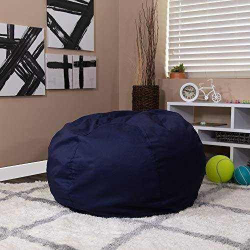 Flash Furniture Solid child bean bag, 42'D x 42'W x 19'H, Navy Blue
