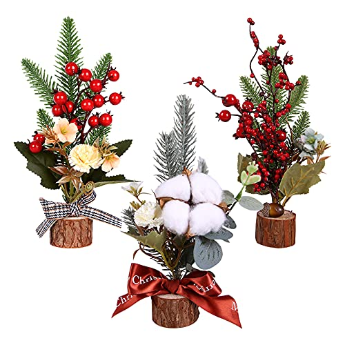 3 Piezas Mini árboles de Navidad de Mesa Mini árboles de Pino de Escritorio con Frutos Rojos y Base de Madera Escritorio Decoración de Mesa Decoración de Vacaciones Adornos de Fiesta de Navidad